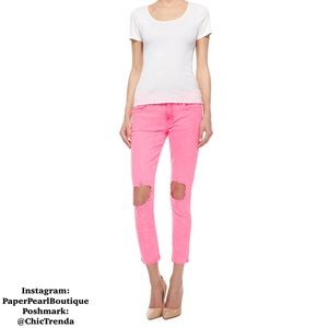 Gorgeous hot pink distressed Hudson skinny jeans!